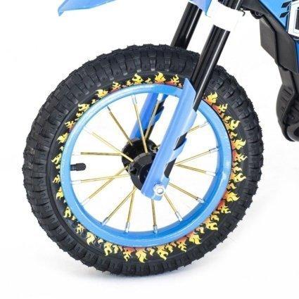 Детский кроссовый электромотоцикл синий Qike TD 6V - QK-3058-BLUE (колеса резина, кресло кожа, музыка, ручка газа)